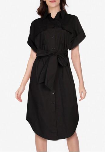 ZALORA WORK black Oversized Shirt Dress F6FDEAA0235471GS_1