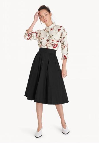1b8bb40f1bd Shop Pomelo Midi Pleated A-Line Skirt - Black Online on ZALORA Philippines