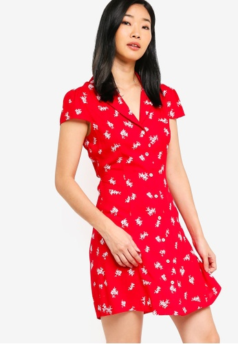 Something Borrowed red Button Down Skater Dress E3B87AA96F8C0AGS_1