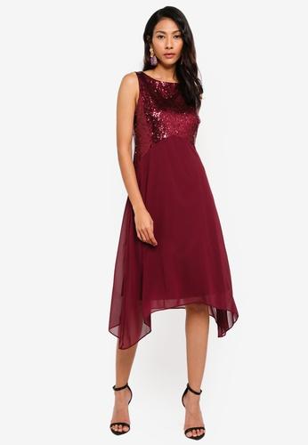 Wallis 紅色 Petite Berry Embellished Asymmetric Dress 4EBF3AAE9C5D7DGS_1