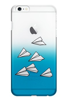Paper Plane Transparent Hard Case for iPhone 6 plus