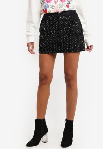 TOPSHOP 黑色 MOTO Diamond Mesh Denim Mini Skirt TO412AA0RMWWMY_1