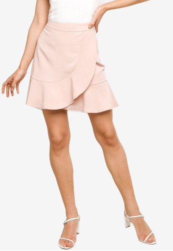 ZALORA WORK 粉紅色 Flounced Hem Skirt C6181AA45DC740GS_1