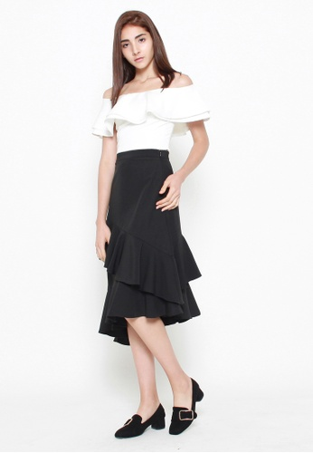 QLOTHE white Cambria Tiered Ruffle Crop Top B14C4AA2D44545GS_1