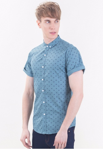 Drum blue Slim Fit Short Sleeve Shirt-GRN DR425AA0RDHNMY_1