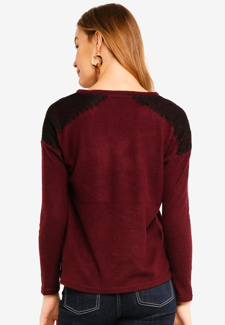 Vero Black Sleeve And Melange Neck Moda V Black Top Penny Long Winetasting rqwrABZ