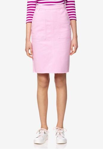 United Colors of Benetton 粉紅色 不修邊牛仔裙 B7F00AA1BA4D45GS_1
