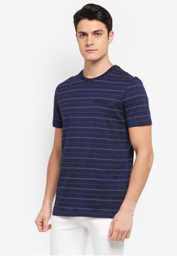 Burton Menswear London navy Navy And White Fine Stripe T-Shirt A35C6AA4471F01GS_1