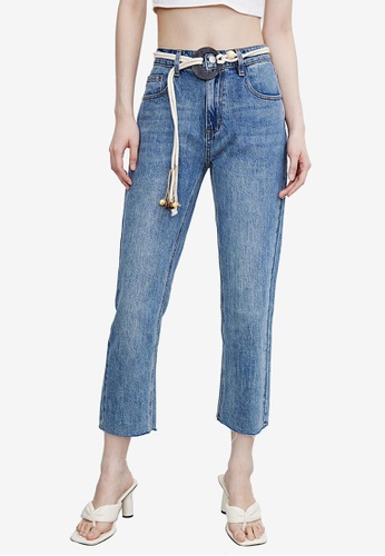 URBAN REVIVO blue Belted Crop Jeans 0F5D5AA5AD0B88GS_1
