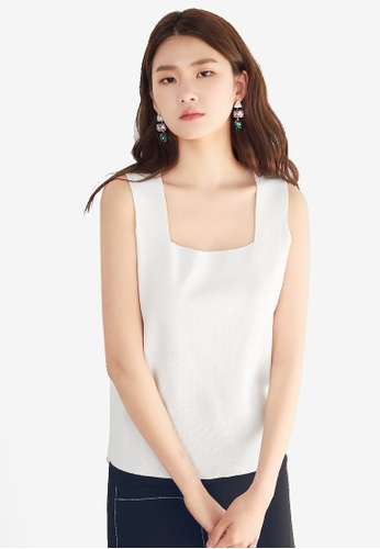 NAIN white Square Neck Knit Top 290BCAA9BB38C0GS_1