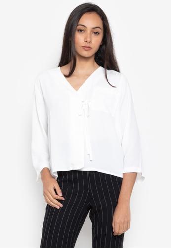 Dorothy Perkins white Tie Pocket Wrap Top 4BC6DAA5A0F750GS_1