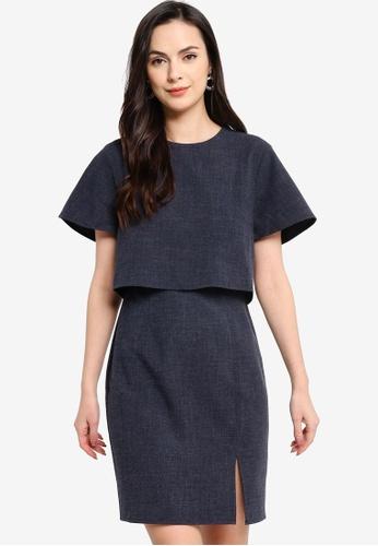 ZALORA WORK grey Double Layer Short Sleeves Dress CE106AA9552EC0GS_1