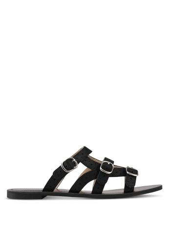 Something Borrowed black Sandals With Strap Details DEFAESH7BD80B7GS_1