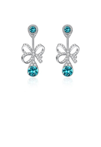 Glamorousky blue 925 Sterling Silver Elegant Fashion Romantic Bowknot and Water Drop Shape Earrings with Blue Austrian Element Crystal DCD22AC8154F13GS_1