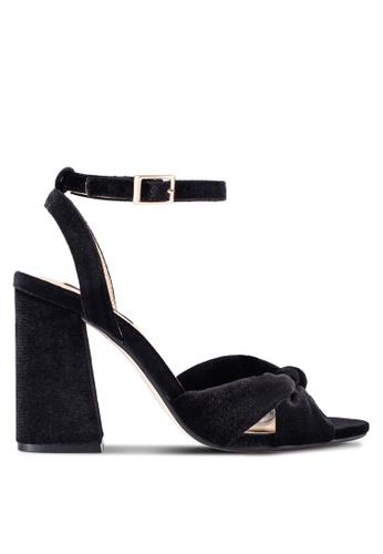 ZALORA black Velvet Cross Strap Heels 8053BSHFC3FCA7GS_1
