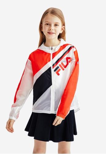 FILA white FILA KIDS FILA Logo Transparent Hooded Jacket 8-15yrs 7E352KA230A657GS_1