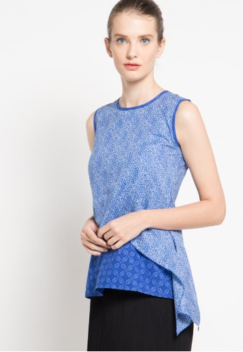 Rianty Batik blue Blouse Cintya RI993AA30YJLID_1