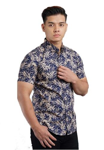 UA BOUTIQUE blue Short Sleeve Shirt Batik SSB120-042 (Blue/ Brown) 7A8AEAAABAEDE8GS_1
