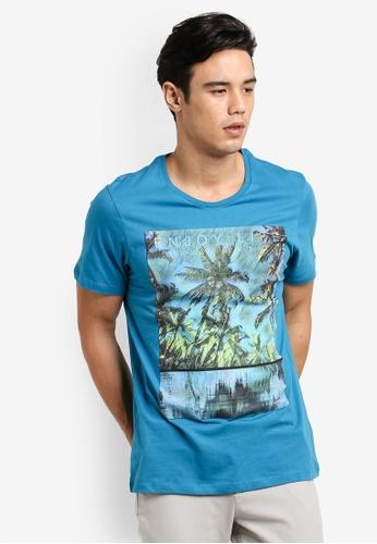 Burton Menswear London blue Enjoy Life Print T-Shirt BU964AA32GBNMY_1