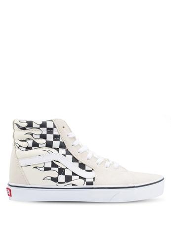 VANS white SK8-Hi Checker Flame Sneakers CE9FFSH65D3893GS_1