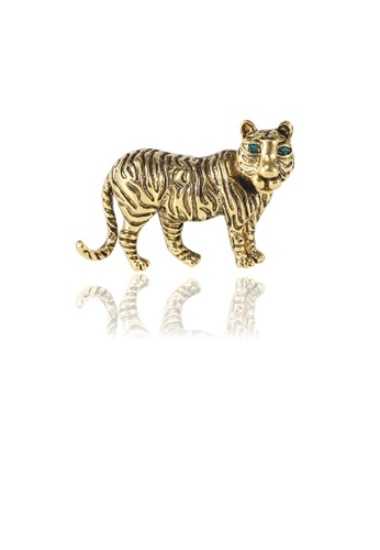 Glamorousky green Fashion Domineering Plated Gold Tiger Brooch with Green Cubic Zirconia 68443ACAA46EC4GS_1