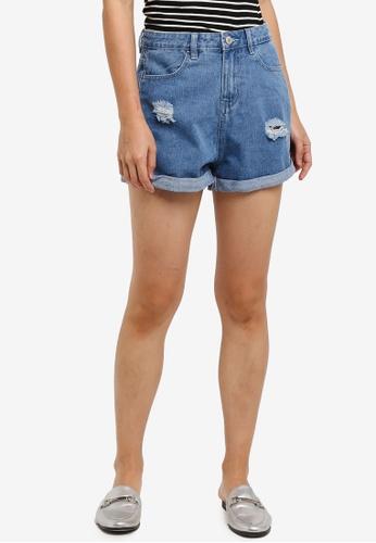 ZALORA blue Mom Fit Shorts 8FD9CAABDB45CCGS_1