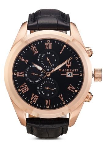 Maserati black Maserati Traguardo Men's Chronograph Leather Strap Watch R8871612002 MA410AC70UVXMY_1