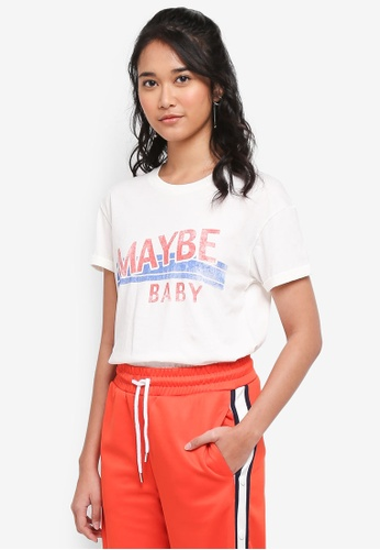 TOPSHOP white Maybe Baby' Slogan T-Shirt 9956FAA1117358GS_1