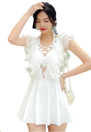 A-IN GIRLS white Sexy Gauze Low V One-Piece Swimsuit 78067USEFF65FCGS_1