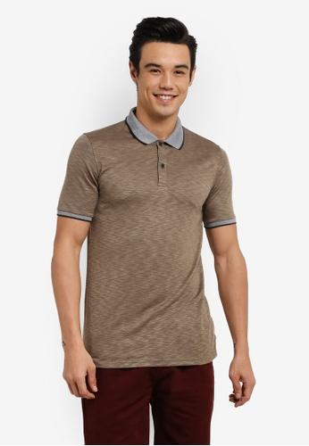 UniqTee 褐色 Textured Polo Shirt With Contrast Collar UN097AA0RFUTMY_1