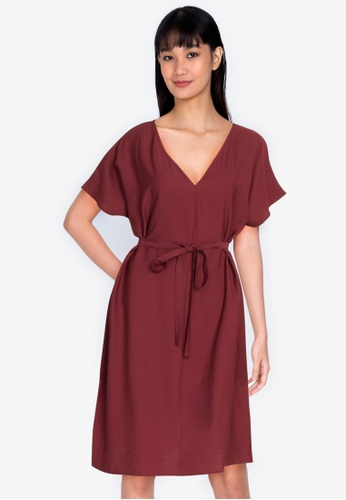 ZALORA BASICS red Raglan Sleeve Knee Length Dress 976B1AA8CCD98FGS_1