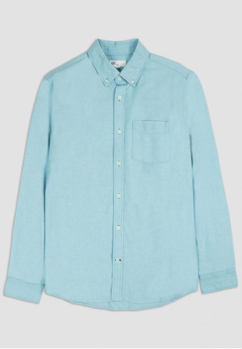 Gap blue Lived- In Stretch Oxford Shirt 26453AACCB4E81GS_1