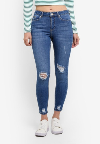 Miss Selfridge blue Busted Hem Lizzie Jeans DC3B7AA7FC598AGS_1