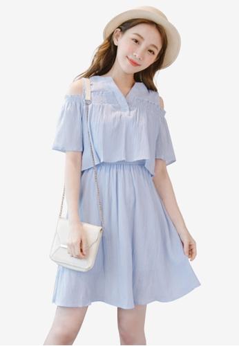 Eyescream blue Cold Shoulder Layer Dress 33FACAACA9DF44GS_1