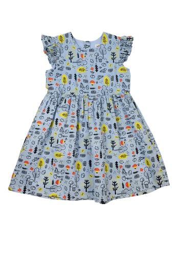 Vauva blue Vauva Fantasy Forest Frilling Sleeves One Piece Dress - Blue 3285DKAAE310DEGS_1