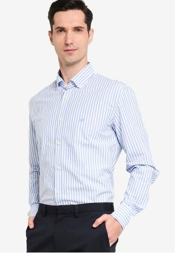 Sacoor Brothers blue Men's Casual Slim Fit Shirt E460DAA1F4B4D5GS_1