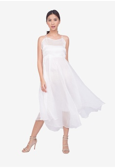 9fe5a5e8cd Caoros white White Midi Sheer Dress A5516AA51767DAGS 1