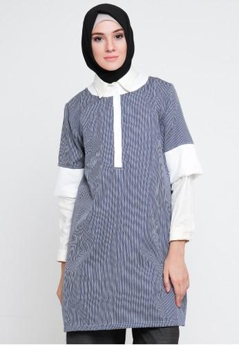Cullotes blue and multi Cullotes Ebony White Stripe Blue Blouse CU322AA26VABID_1