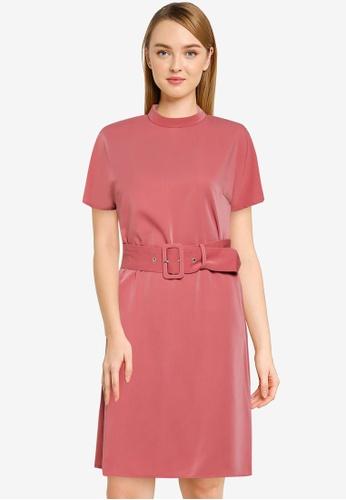ZALORA WORK pink High Neck Shift Dress AE7EAAAD7C3E5FGS_1