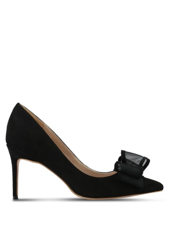 Velvet black Deconstructed Bow Pump Heels 60696ZZ10F7EECGS_1