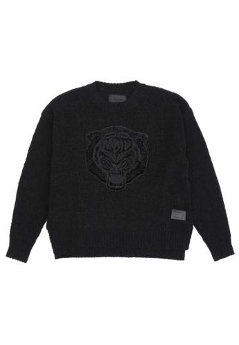MUSIUM DIV black Appliqued crewneck sweater 0FFE3AA1912FE1GS_1