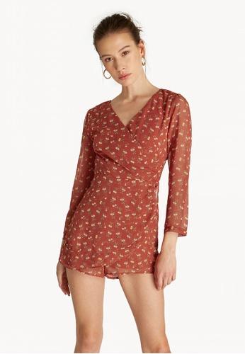 8042b1d27b2 Buy Pomelo Long Sleeve Open Back Romper - Red Online on ZALORA Singapore