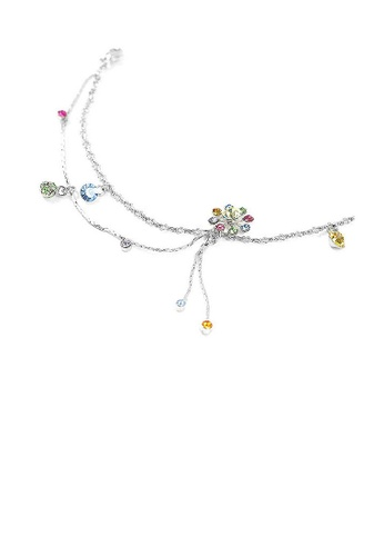 Glamorousky multi Elegant Flower Anklet with Multi-color Austrian Element Crystals 1BC11ACCF34799GS_1
