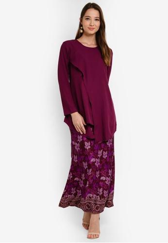 Asymmetric Layered Kurung from Aqeela Muslimah Wear in Purple