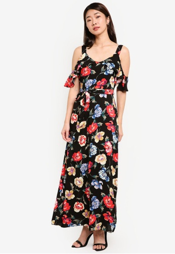 Dorothy Perkins multi Petite Floral Frill Maxi Dress DO816AA0RI8YMY_1