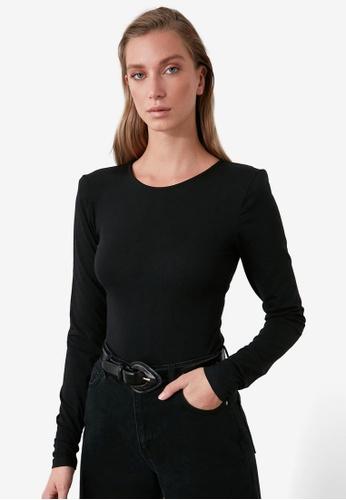 Trendyol black Padded Shoulder Snap-On Bodysuit 2EDEFAA40C3485GS_1
