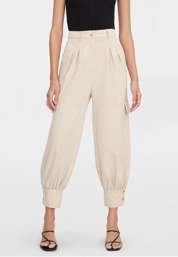 Pomelo beige Buttoned Cuff High Waist Pants - Cream B9BA9AAB44CC06GS_1