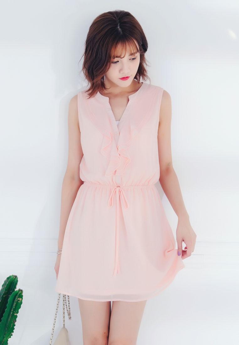 Ruffles Tie-Waist Dress-Pink