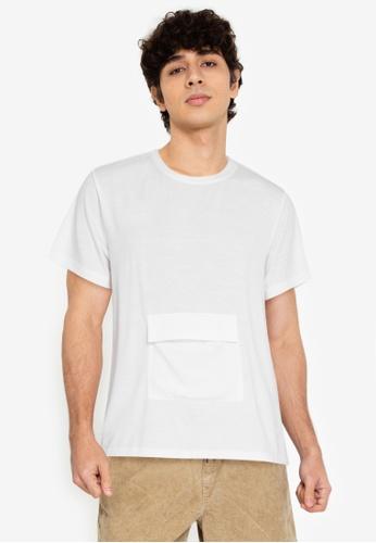 ZALORA BASICS white Front Flap Pocket T-Shirt 14AE1AA3B69602GS_1