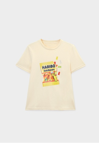 Pomelo beige Haribo Graphic Print Short Sleeve Tee - Cream 7038AAACA81AE8GS_1
